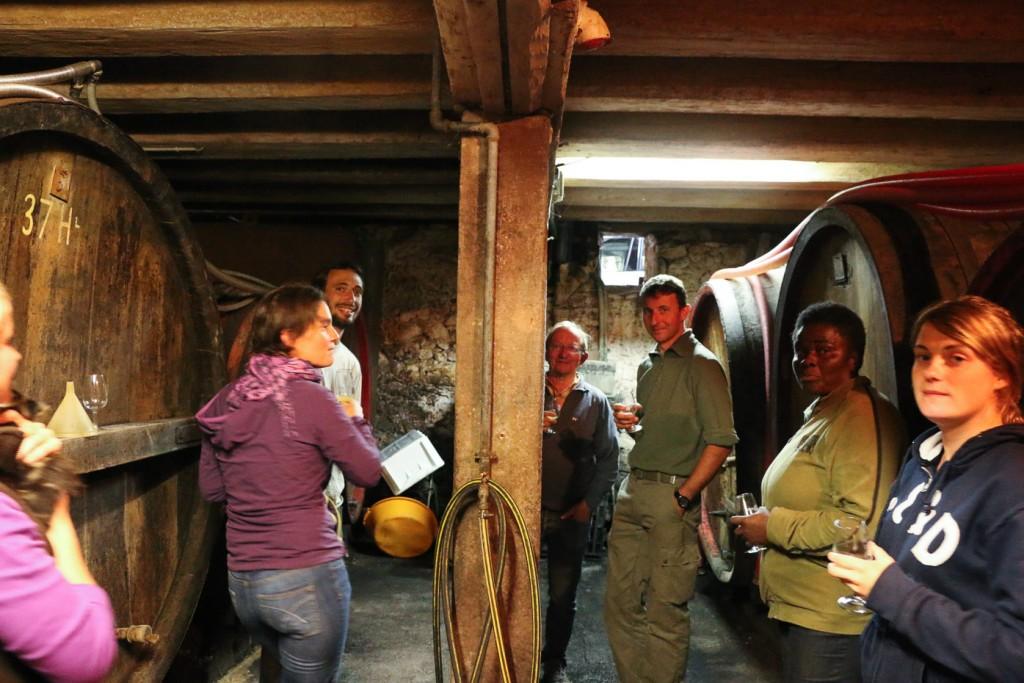 Dégustation des vins au foudre avec les vendangeurs